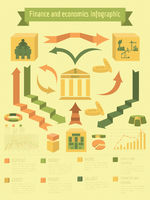 Economics and finance infographic. Investment projects. Banks. Elements for creating your own infographic.