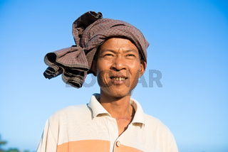 Portrait of Asian Burmese traditional farmer