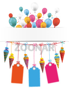 Candy Cones Banner Balloons Price Stickers