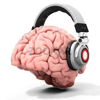 3d human brain with headphones