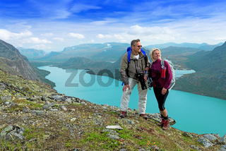 Backpackers at Besseggen ridge at Jotunheimen national park