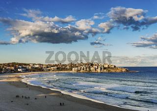 view of bondi beach in sydney australia at sunset