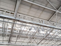 industrial factory ceiling with metal roof beams