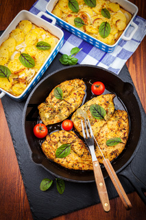 Marinated chicken breast with potato gratin