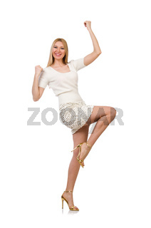 Pretty young blond woman isolated on white