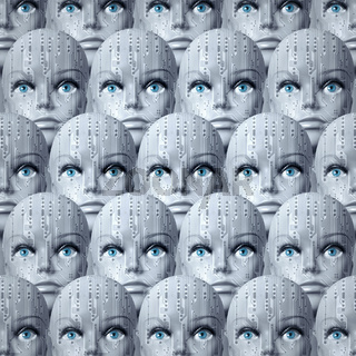 Identical cyborg heads with blue human eyes