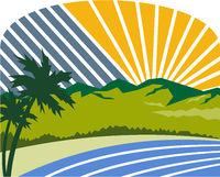 Tropical Trees Mountains Sea Coast Retro