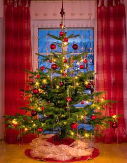 Beautifully decorated xmas tree .