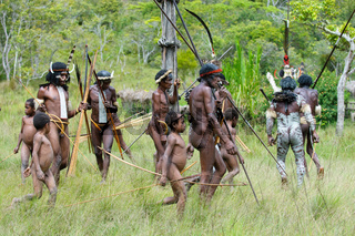 WAMENA, PAPUA, INDONESIA - November, 14: People of Dani tribe performing traditional fighting dance on November, 14, 2008 near Wamena, Papua, Indonesia.