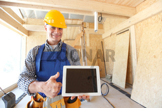 workman with tablet