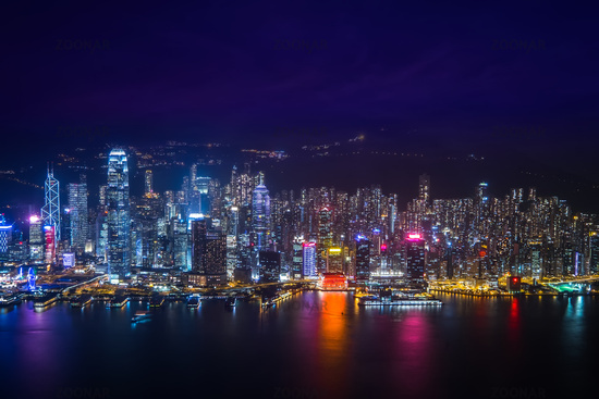 Hong Kong skyline night panorama