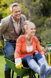 Husband pushing wife in a wheelbarrow