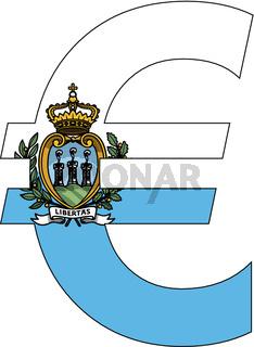 euro with flag of san marino