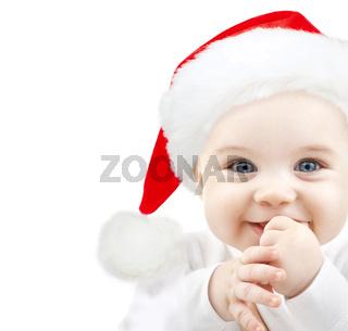 happy baby in santa hat