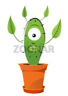 Funny green cactus with leafs