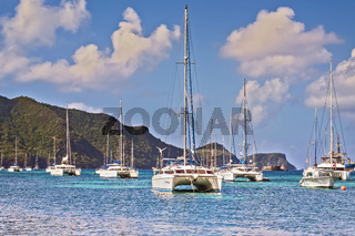 Catamarans In The Bay Port Elizabeth Grenadines St Vincent West Indies