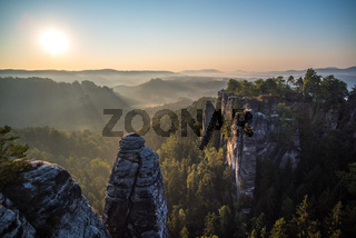 Bastei rock formations, Saxon Switzerland National Park, Germany