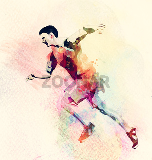 Colorful watercolor painting of man running. Abstract creative sport background