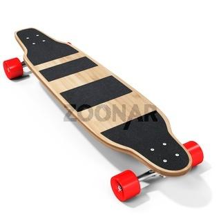 3d wooden longboard, skateboard with red wheels