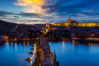 Night view of Prague, Charles Bridge, Vltava river
