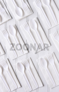 Plastic Utensils On Napkins