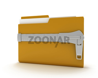 Computer folder with locks and files inside