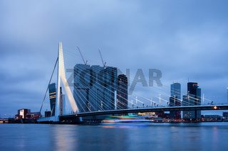 Rotterdam Downtown Skyline at Dusk