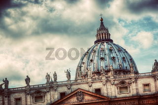 Fountain on St. Peter#39;s square in Vatican City. Vintage