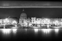 Night view from Santa Lucia railway station in black and white, Venice, Italy, Europe