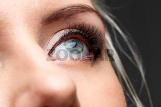 Female eye with long eyelashes