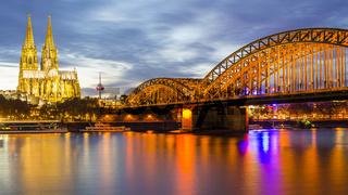 Rhein, Kölner Dom, Hohenzollernbrücke, Köln, Nordrhein-Westfalen, Deutschland, Europa