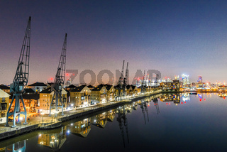 Royal Victoria Dock at night, Docklands, London, UK