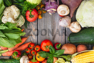 Vegetables on wooden table