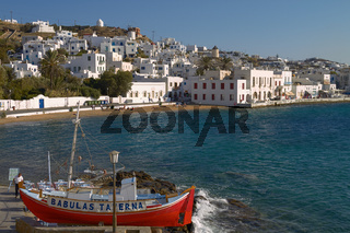 MYKONOS, GREECE - SEPTEMBER 13 2010: People Enjoying a Vacation at Mediterranean Island of Mykonos Greece