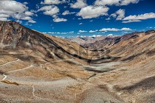 Karakoram Range and road in valley, Ladakh, India