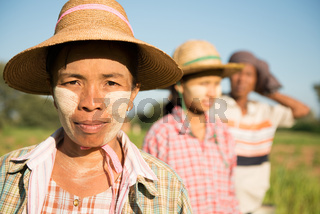 Traditional Asian Myanmar farmers portrait