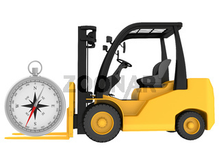 Forklift with compass isolated on white background