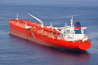 Red oil tanker.