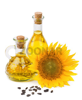 sunflower oil and seeds isolated on white