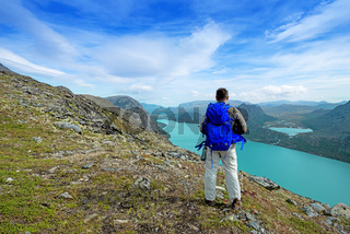 Backpacker at Besseggen ridge at Jotunheimen national park