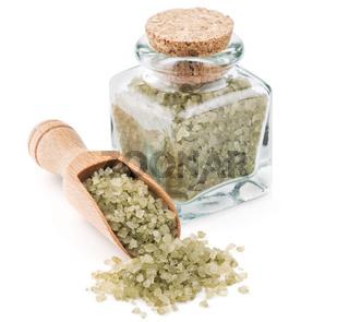 Hawaiian green salt in a glass bottle