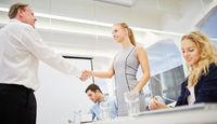 Berater und Geschäftsfrau schütteln Hände
