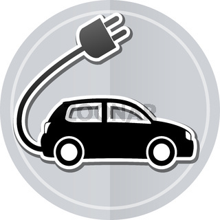 electric car sticker icon