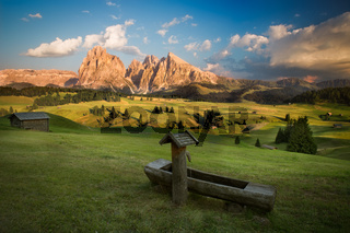 Seiser Alm with Langkofel Group before sunset, South Tyrol, Italy