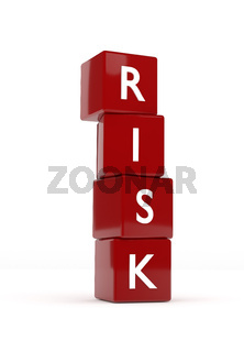 Four red cubes with the word Risk