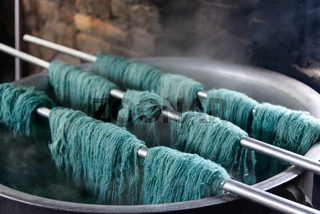 Traditional wool dying
