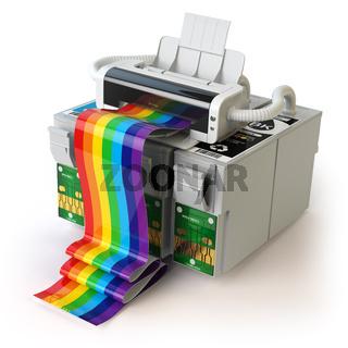 Printer and CMYK cartridges for colour inkjet printer isolated on white.