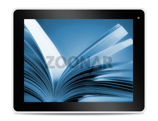 Book on computer tablet screen. Reading online.