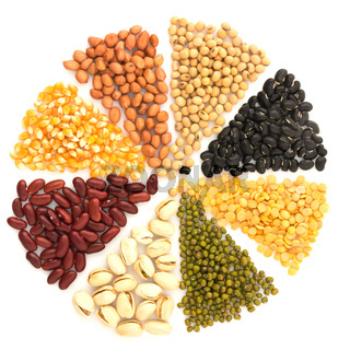 Assortment of beans and lentils in wooden spoon with wood box macadamia isolated on white . mung bean, groundnut, soybean, red kidney bean , black bean ,red bean and brown pinto beans .