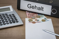 Gehalt written on a binder